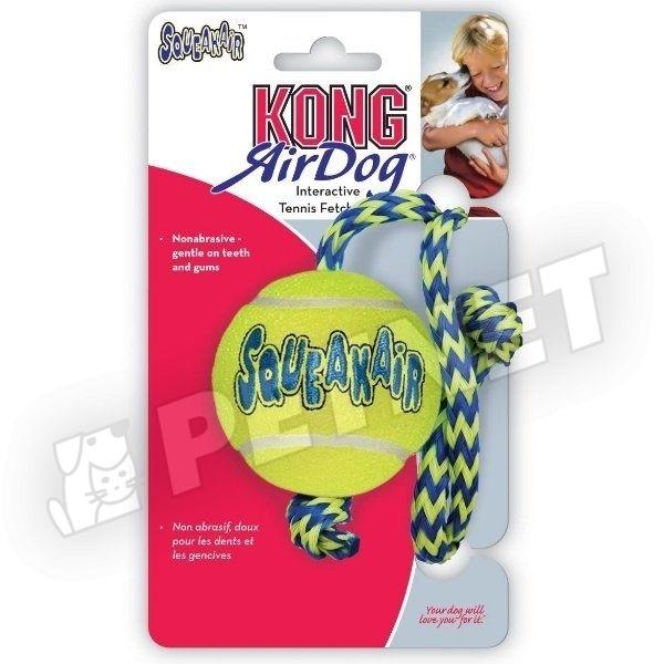 KONG AirDog SqueakAir Tennis Ball Medium kötélen