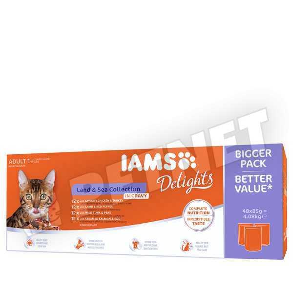 IAMS Delight Land & Sea Multipack válogatás szószban 48x85g