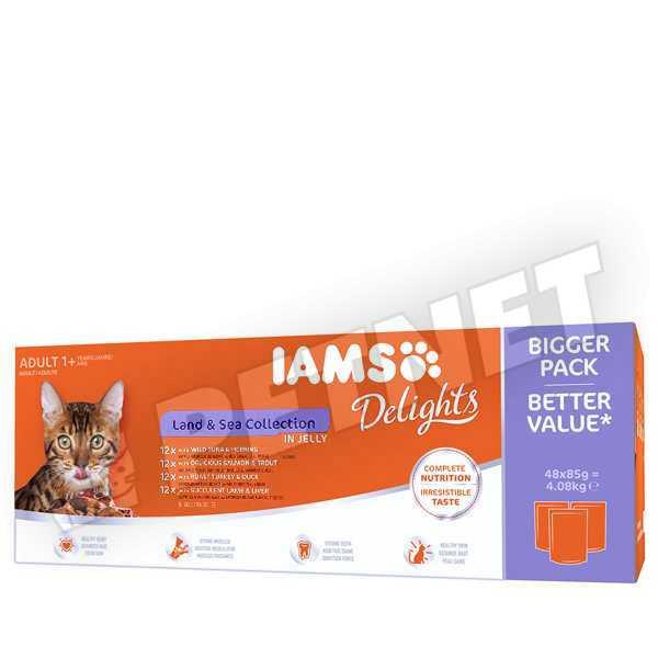 IAMS Delight Land & Sea Multipack válogatás aszpikban 48x85g