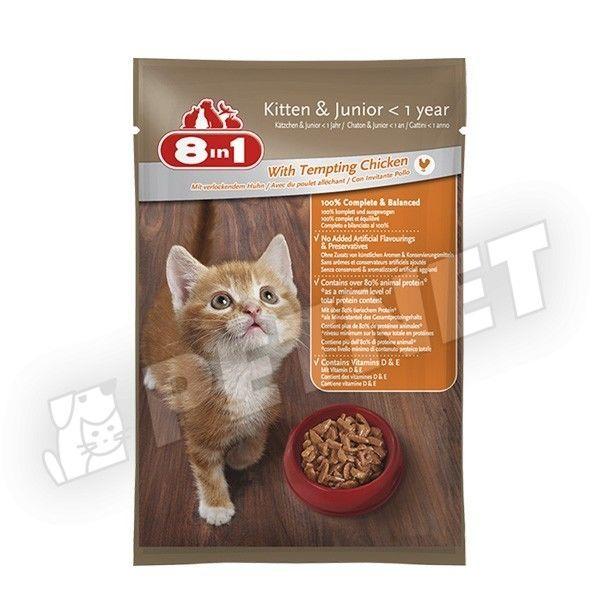 8in1 Kitten & Junior csábító csirkehússal 100g