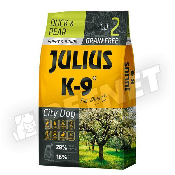 Julius K-9 GF City Dog Puppy Junior Kacsa körtével 340g