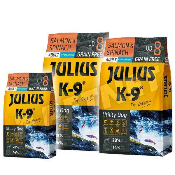 Julius K9 GF Utility Dog Hypoallergen Adult Lazac spenót 2x10kg +Ajándék 3kg