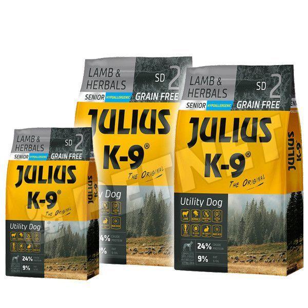 Julius K9 GF Utility Dog Hypoallergen Senior Bárány gyógynövény 2x10kg +Ajándék 3kg