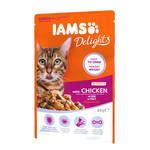 IAMS Delights Senior Csirke falatok ízletes szószban 85g