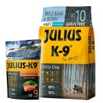 Julius K-9 GF Utility Dog Hypoallergen Vaddisznó áfonya 3kg +Ajándék Lazac 340g