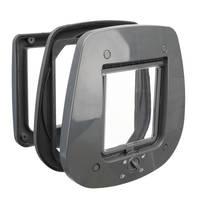 Trixie 4 funkciós macskaajtó üvegajtókba szürke 27x26cm